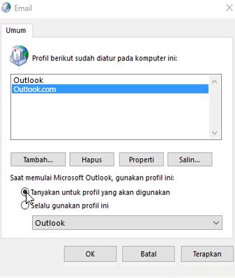 Cuplikan layar kotak Profil di Outlook