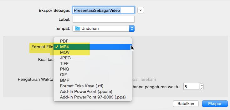 Pelanggan Office 365 bisa mengekspor presentasi ke video sebagai file MP4 atau MOV
