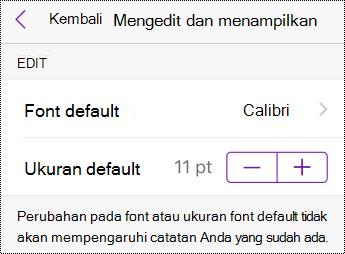 Ubah jenis font dan opsi ukuran di Pengaturan di iPhone.