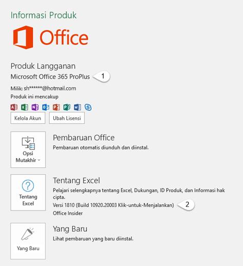 Halaman akun yang menyertakan informasi Pengguna dan Produk