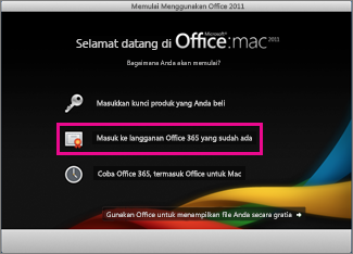 Office for Mac home installation page where you sign in to an existing Office 365 subscription.