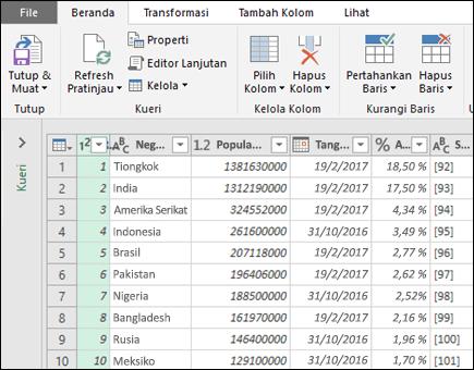Opsi Dapatkan & transformasi dari tabel