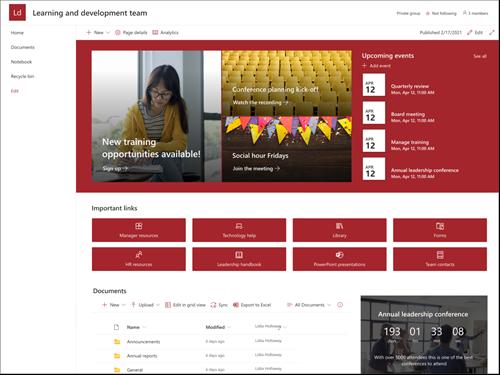 Cuplikan layar pratinjau templat situs tim Pemimpin dan pengembangan