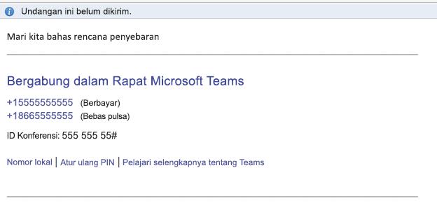 Tautan Bergabung dalam Rapat Microsoft Teams di isi acara
