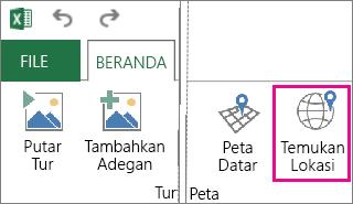 Tombol Temukan Lokasi pada tab Beranda Power Map