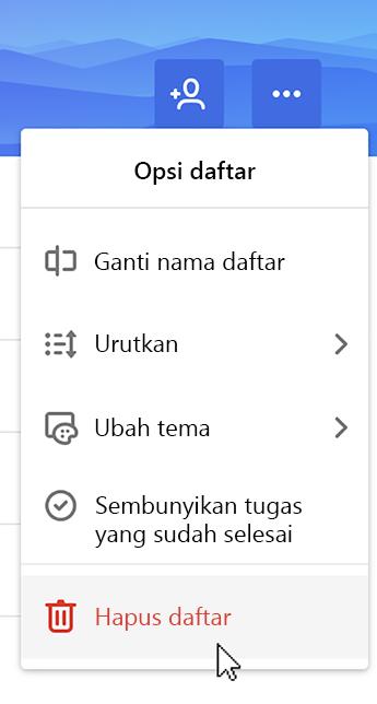 Cuplikan layar memperlihatkan Hapus daftar yang dipilih