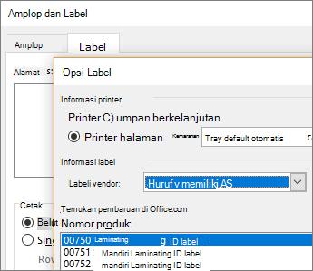 Memilih tata letak Avery kompatibel dalam kotak dialog Opsi Label