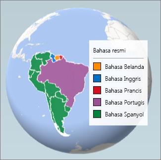 Bagan Kawasan memperlihatkan bahasa yang digunakan di Amerika Selatan