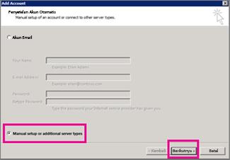 Menggunakan penyiapan manual di Outlook 2013