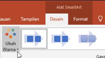 Memperlihatkan tombol Ubah warna pada tab desain