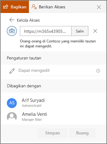 Cuplikan layar memperlihatkan pengguna yang belum dikirim link properti link.