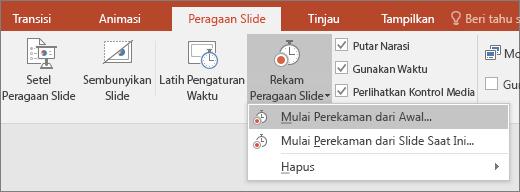 Memperlihatkan tombol rekam peragaan slide di PowerPoint