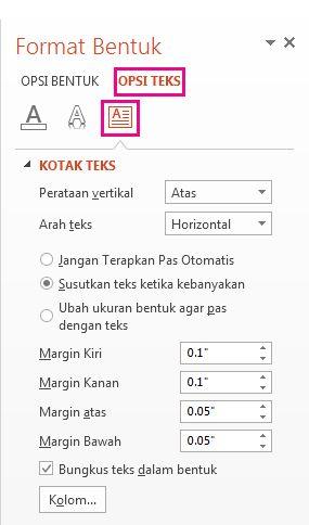 Pengaturan margin kotak teks