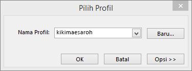 Memilih kotak dialog profil dengan nama profil baru