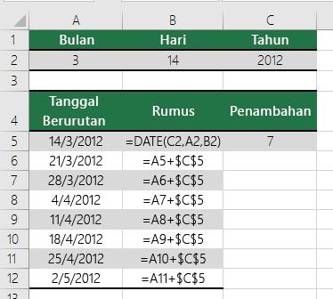 Menambah atau mengurangi tanggal dengan jumlah hari tertentu