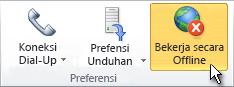 Perintah Bekerja Offline pada pita menunjukkan Offline diaktifkan
