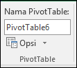 Mengganti nama PivotTable dari alat PivotTable > analisis > nama PivotTable kotak