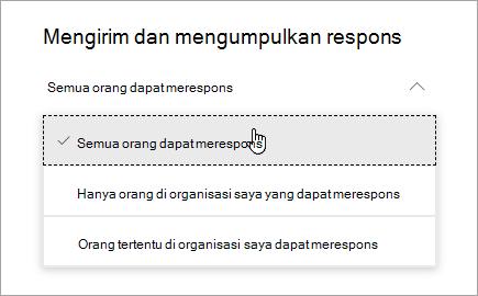 Opsi berbagi di Microsoft Forms