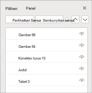 Panel pemilihan memungkinkan Anda mengurutkan ulang, atau memperlihatkan/menyembunyikan, objek pada slide Anda.