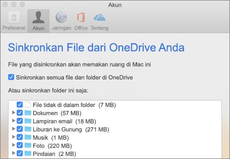 Sinkronkan kotak dialog Folder untuk OneDrive untuk Mac