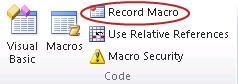 Perintah Rekam Makro dalam grup Kode pada tab Pengembang