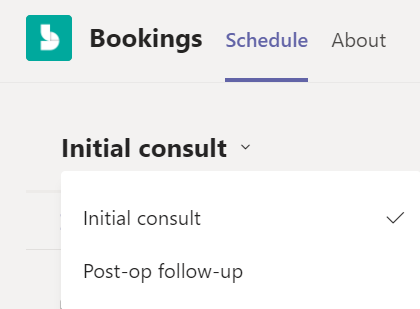 Dropdown tipe janji dalam aplikasi Bookings