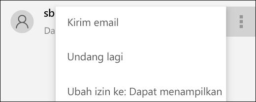 Opsi Kelola Pengguna memungkinkan Anda mengirim ulang undangan atau mengubah akses pengguna ke file tersebut.