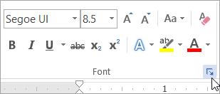 Mengklik peluncur kotak dialog Font