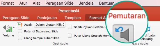 Ketika klip audio dipilih dalam slide, tab Pemutaran muncul di pita toolbar untuk mengatur opsi pemutaran.