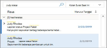 Memperlihatkan Outlook pencarian pencarian