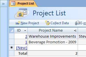 Templat database Proyek