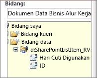 Pilih daftar bidang data