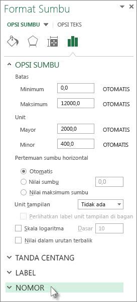Opsi nomor dalam panel Format Sumbu
