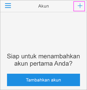 Ketuk tanda + dalam aplikasi Azure Authenticator.