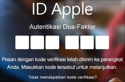 Masukkan kode autentikasi dua-faktor Anda