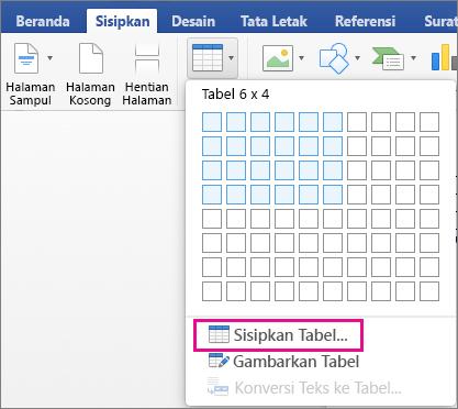 Sisipkan Tabel disoroti untuk membuat tabel kustom