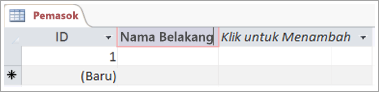 Cuplikan layar bidang untuk menambahkan nama deskriptif untuk kolom
