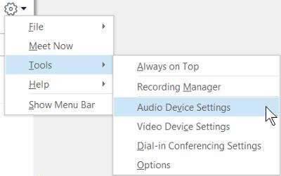 Cuplikan layar memperlihatkan menu tombol opsi dengan pengaturan perangkat Audio yang dipilih.