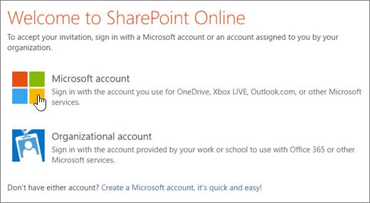 Cuplikan layar memperlihatkan layar masuk SharePoint Online.