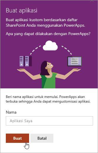 Menyediakan nama PowerApp dan lalu klik buat.