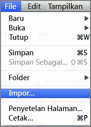 Mengimpor dari menu File
