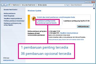 Link dalam panel Pembaruan Windows