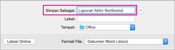 Dalam kotak Simpan Sebagai, masukkan atau ubah nama file untuk dokumen saat ini.