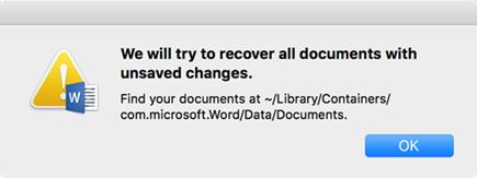 """""""Kami akan mencoba memulihkan semua dokumen dengan perubahan tidak disimpan"""""""