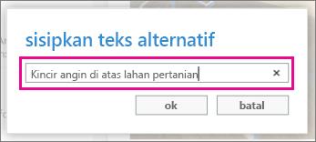 Jendela tambahkan teks alt.