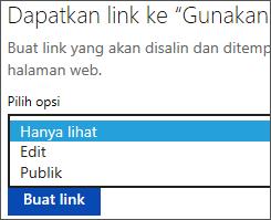 Memilih opsi Tampilkan Saja sebelum membuat link untuk disalin dan ditempel