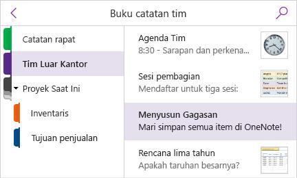 Panel Bagian dan daftar halaman dengan pratinjau halaman yang ditampilkan