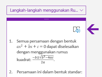 Ikon Pembaca Imersif di panel Matematika di OneNote untuk Windows 10