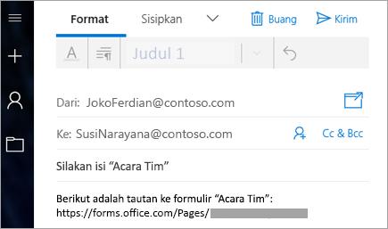 Mengirim tautan ke formulir melalui email