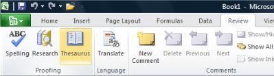 Tesaurus Tab Tinjau Pita Excel